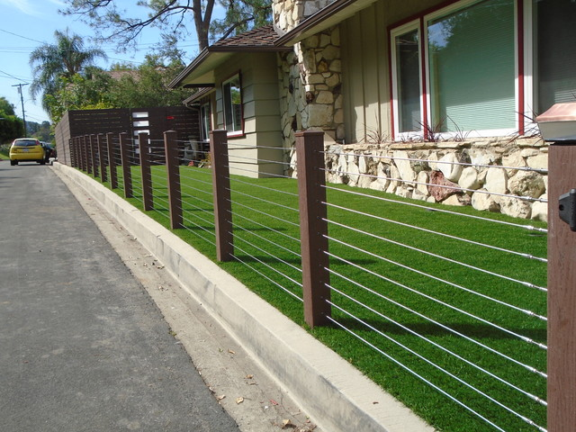 Endwood Vinyl Semi Privacy Fence amp Stainless Steel Cable Railing