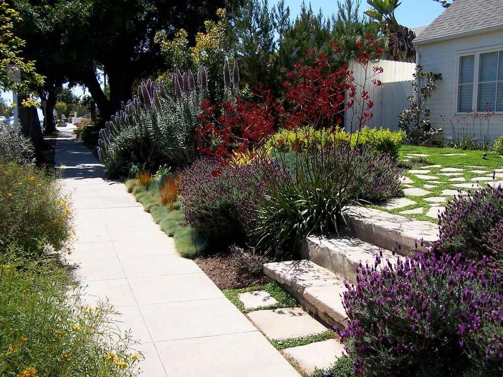 This is an example of a mid-sized traditional full sun and drought-tolerant front yard concrete paver garden path in Los Angeles for spring.