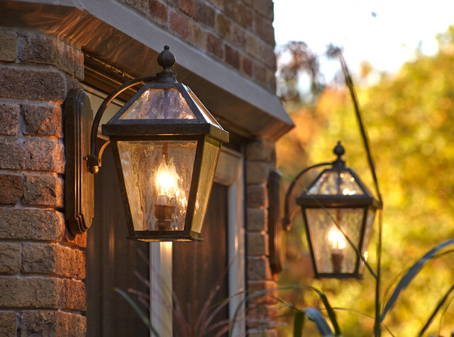 English tudor estate with traditional style exterior for Exterior front door lights