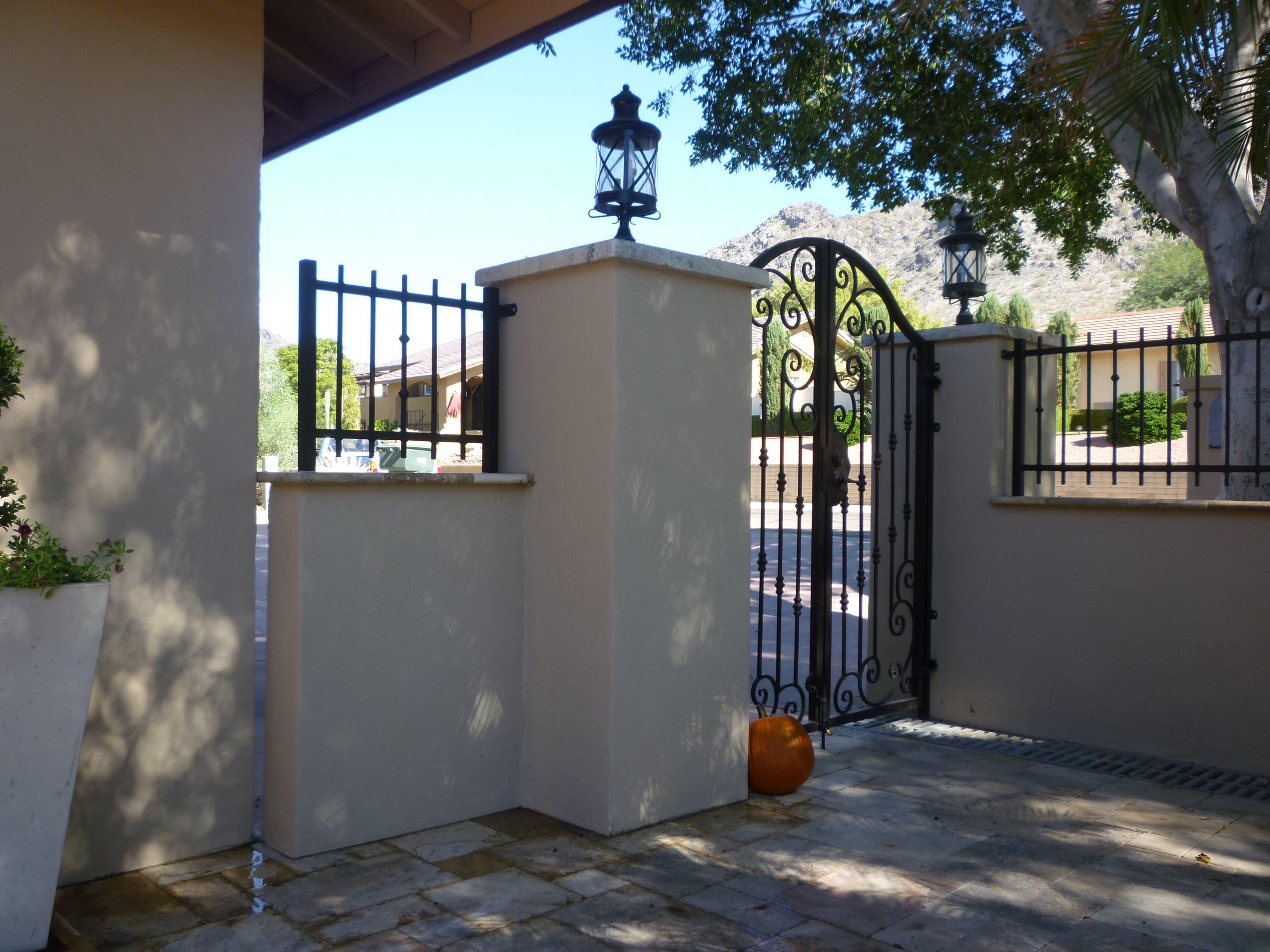 Entry Gate & Travertine Patio