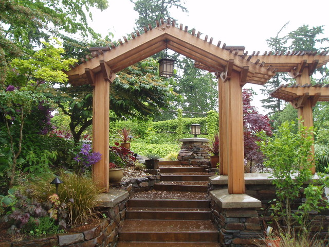 entry pergola asian landscape seattle by bear. Black Bedroom Furniture Sets. Home Design Ideas