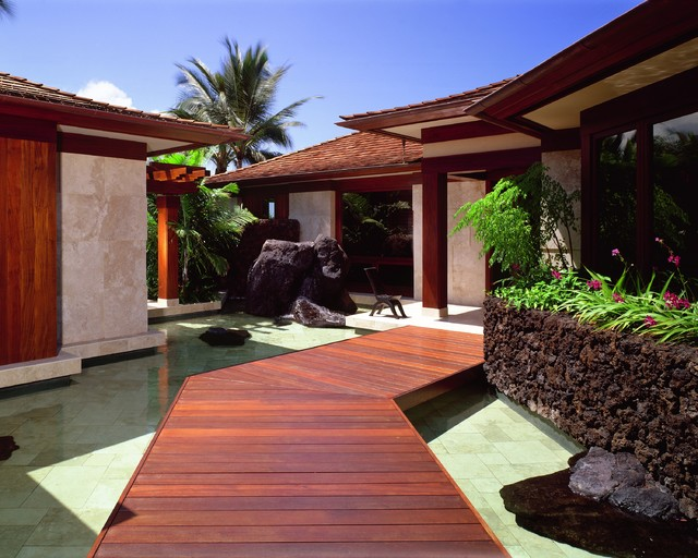 Entry asian exterior hawaii by saint dizier design for Japanese exterior design
