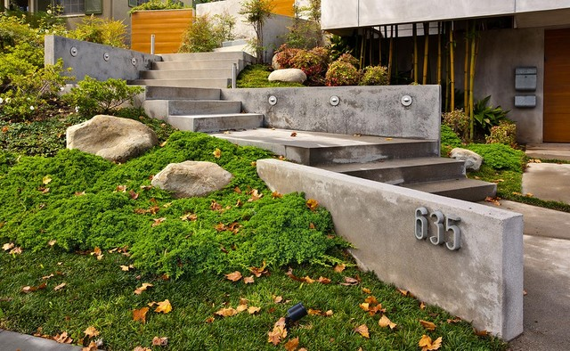 Entry Steps To Hillside Home By MGS Architetcure
