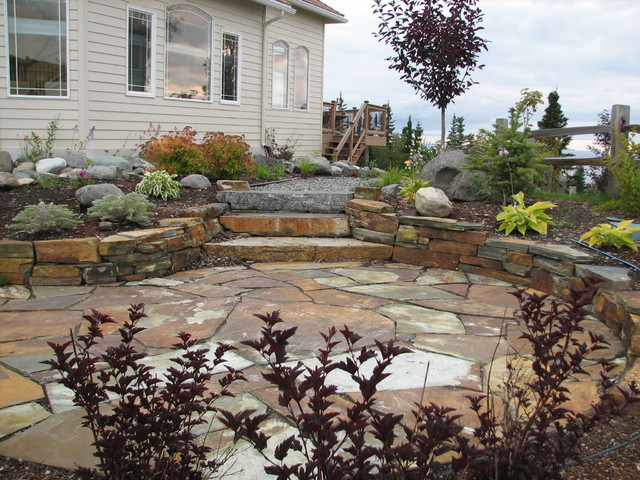 Established landscapes natural stone terrace traditional for Natural terrace