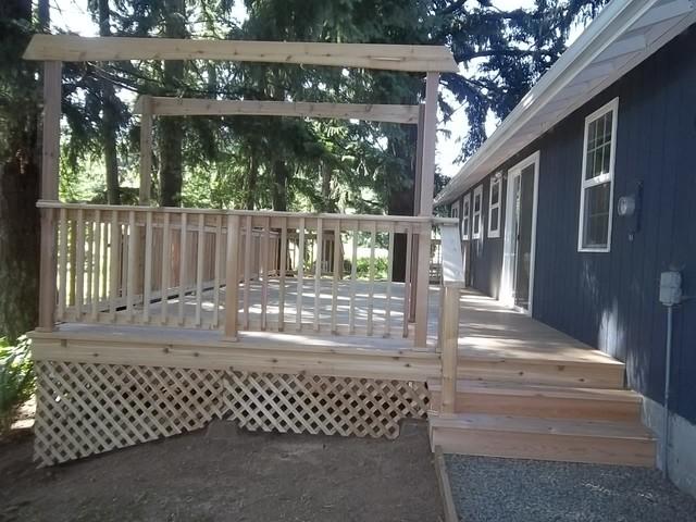 Exterior Deck with Railing, Lattice and Gravel Landing