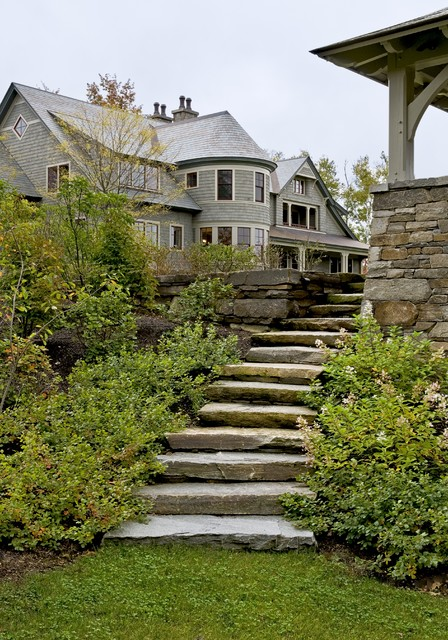 Exterior staircase leading to gazebo traditional landscape