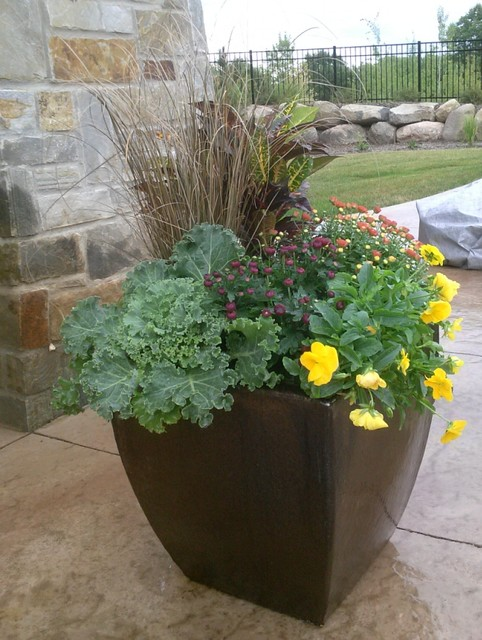 Fall Container Garden Traditional Landscape