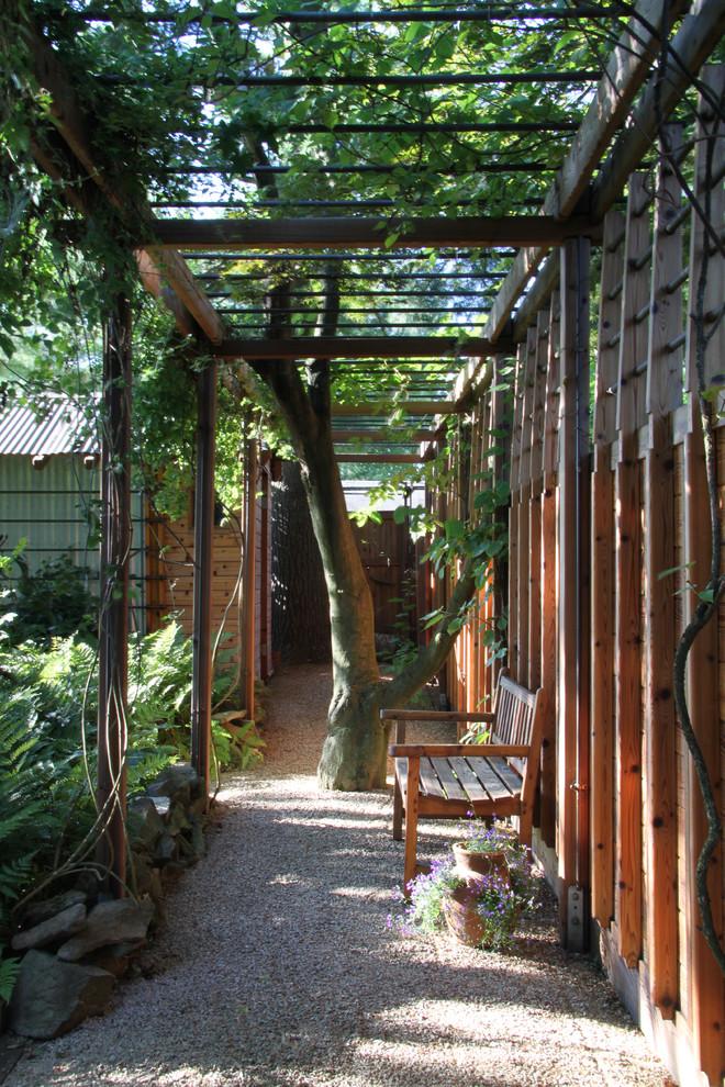 Photo of a small contemporary shade courtyard gravel formal garden in Philadelphia for summer.