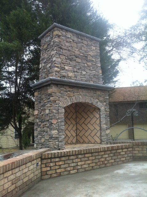 Field Stone Fireplace Traditional Landscape Raleigh