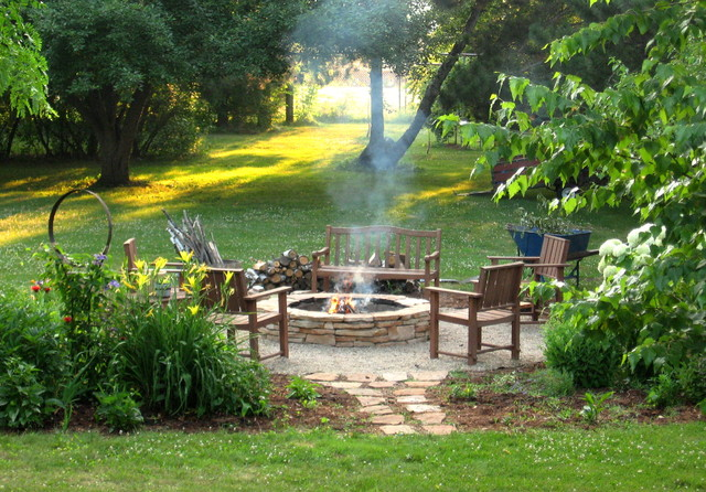 Fire pit diy rustic landscape milwaukee by erin for Backyard with fire pit landscaping ideas
