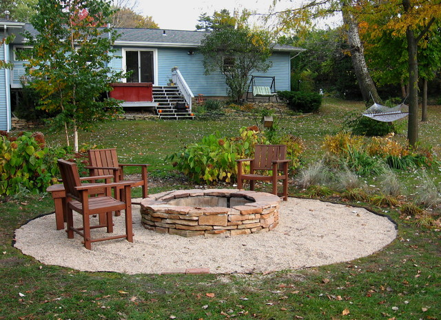 garden design with how to make a stacked stone fire pit with large backyard design ideas
