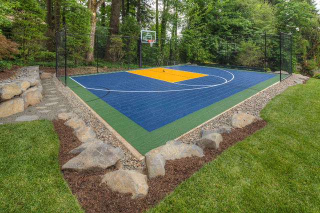 Fire pit sport court oversized paver patio traditional for Backyard sport court ideas