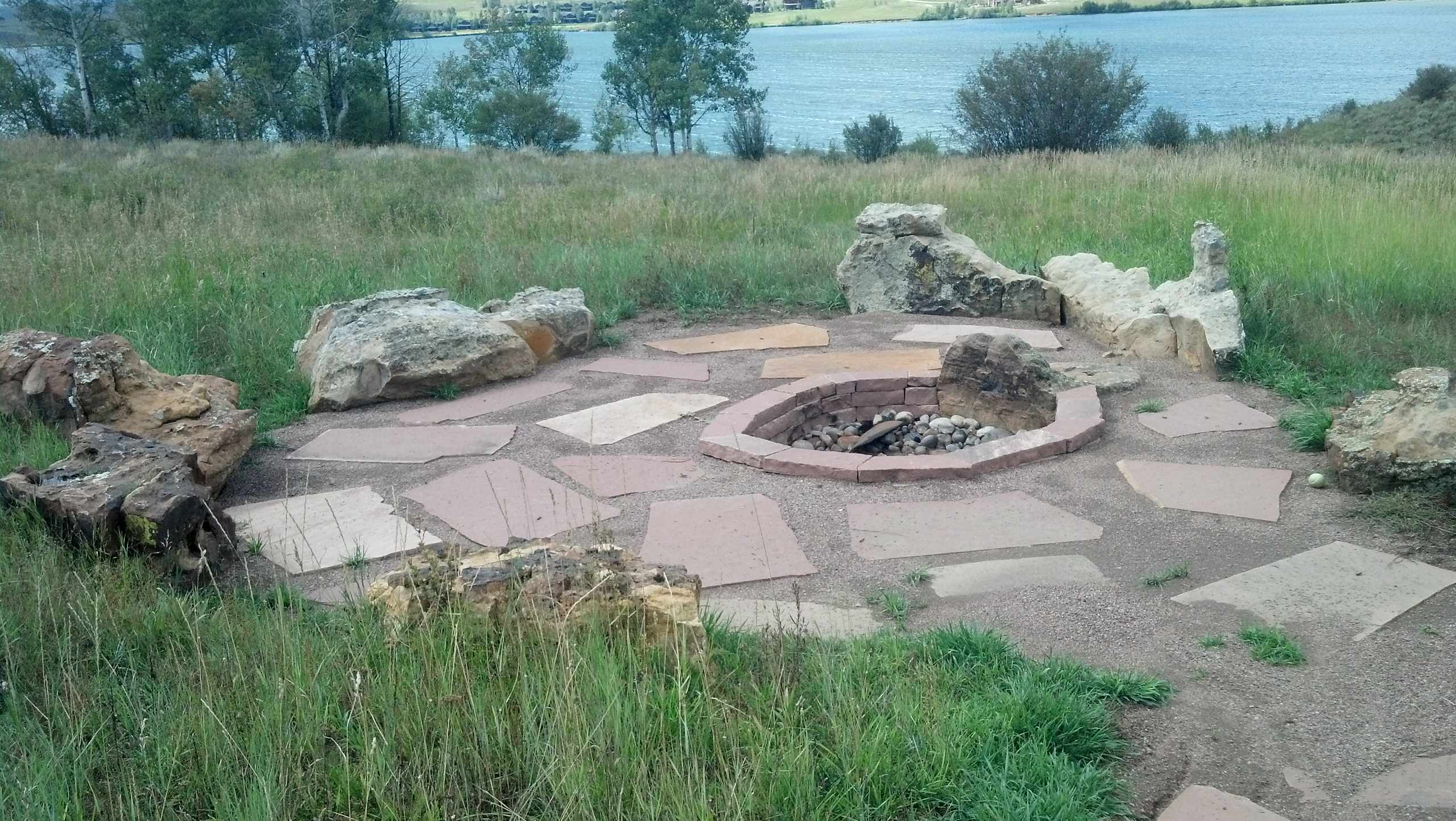 Fire Pit with inset boulders