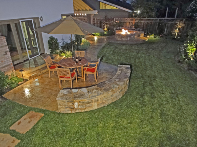 Fire pit with Patio Seating traditional-landscape