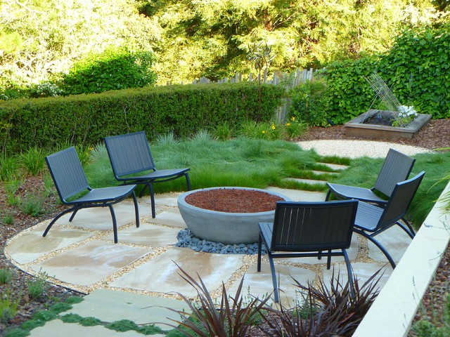 Charming Firebowl And Stone Seating Area Contemporary Garden