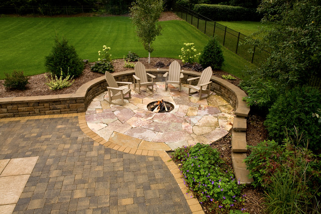 Flagstone In Ground Fire Pit Contemporary Landscape