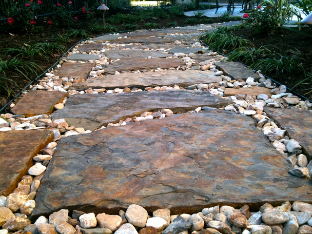 flagstone pathway traditional landscape austin by