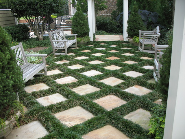 Patio Designs Pavers Grass : Flagstone patio and mondo grass traditional landscape