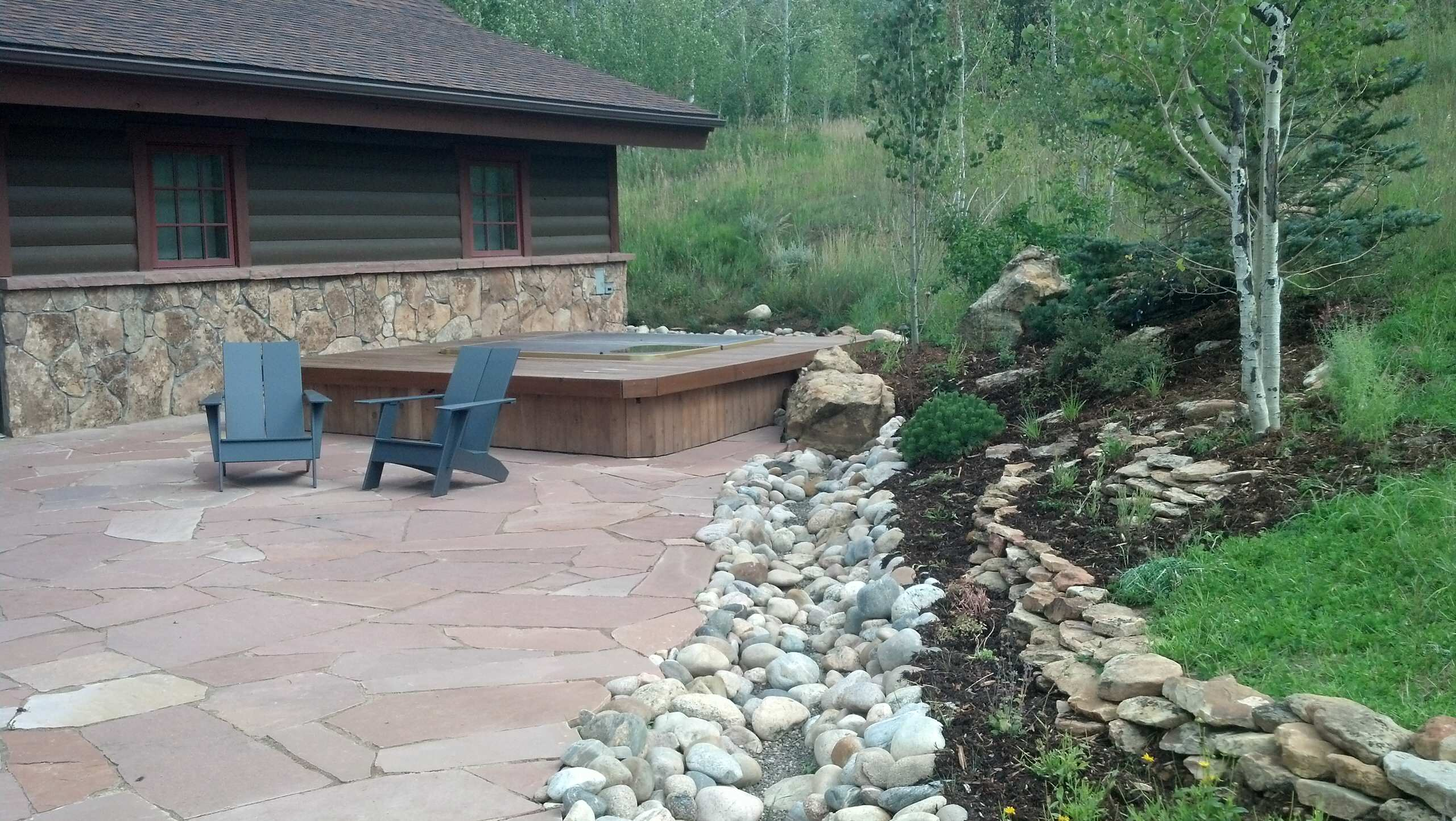 Flagstone patio and planter