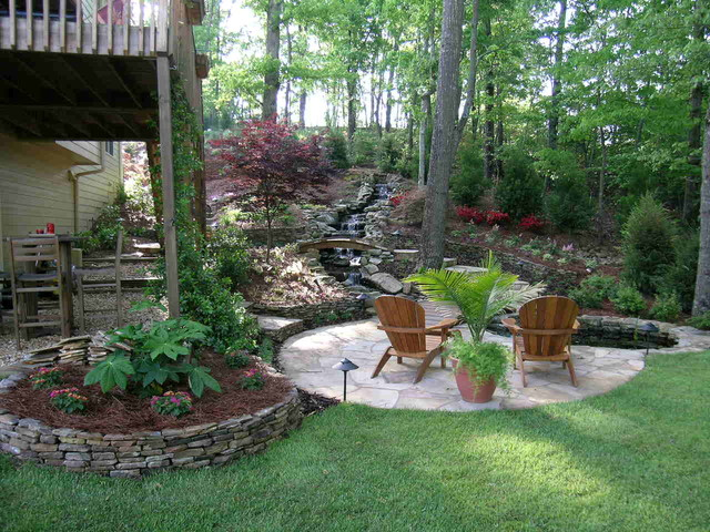 Flagstone patio with terraced steps and waterfall - Asian ... on ideas for muddy backyards, ideas for sloping backyards, ideas for sloped backyards,