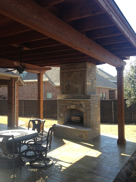 Flower Mound Texas Patio Cover Stamped Concrete And Outdoor