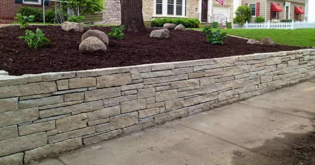 Fondualc Stone Retaining Wall Traditional Landscape