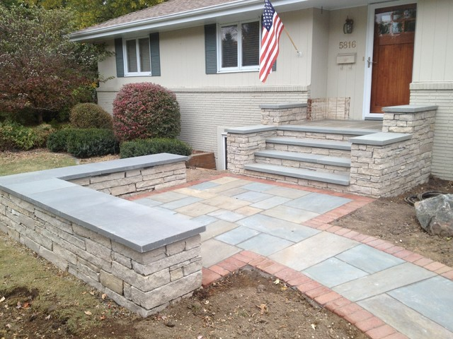 Fondualc Stone Wall, Steps and Sitting Wall with Bluestone Patio and Treads. - Traditional ...
