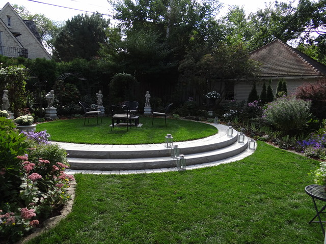 Formal backyard seating area traditional landscape for Garden designs seating areas
