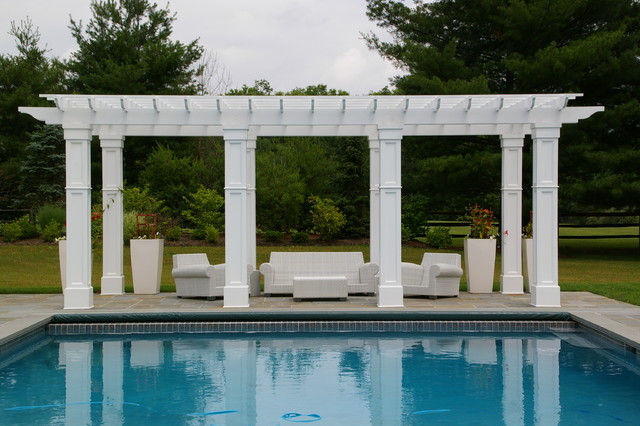 Formal Landscape Design with Swimming Pool, Pergola, Outdoor ...
