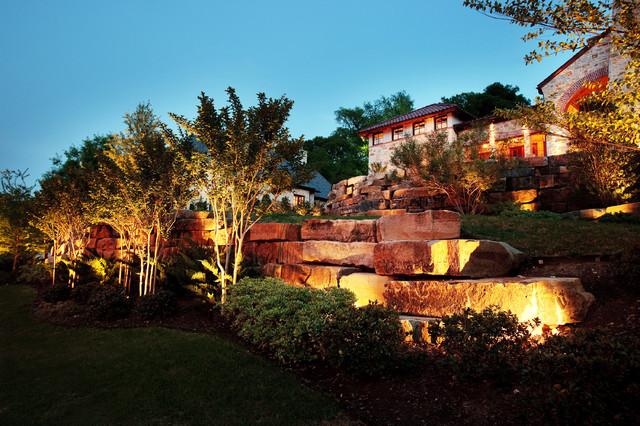 fort worth landscape lighting project hilltop mediterranean landscape bruce paul passion lighting
