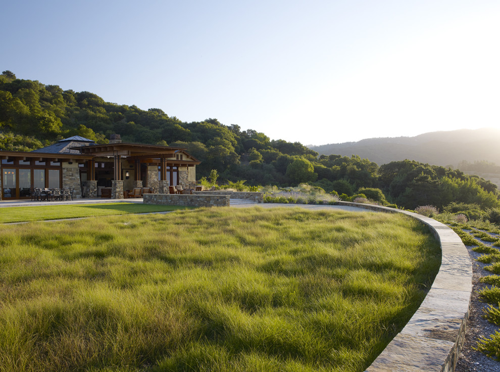 This is an example of a huge contemporary backyard landscaping in San Francisco.