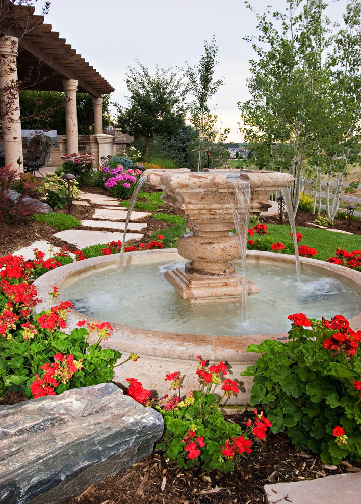 Photo of a mediterranean water fountain landscape in Phoenix.