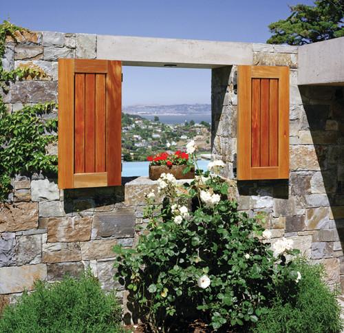 Landscape Window with wood shutters