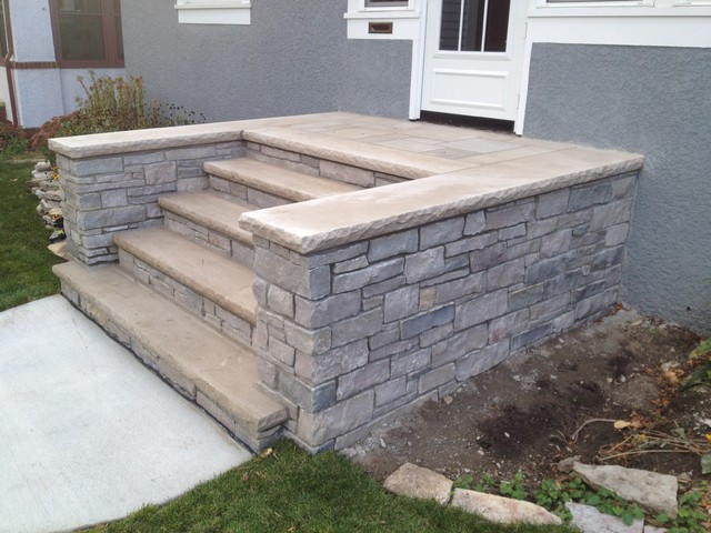 Front Concrete and Stone Steps in Minneapolis - Transitional ...