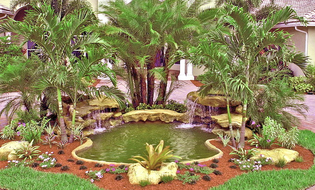 Front Entrance Waterfall Tropical Landscape Miami