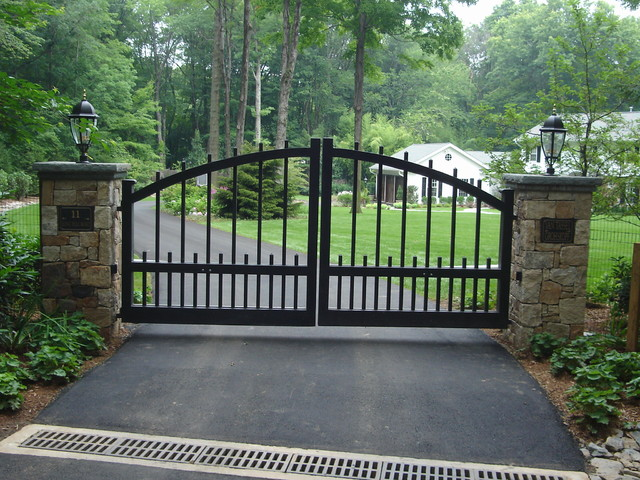 Front Entry Piers u0026 Gates / Stone Bridges - Traditional - Landscape - new york - by Cross River ...