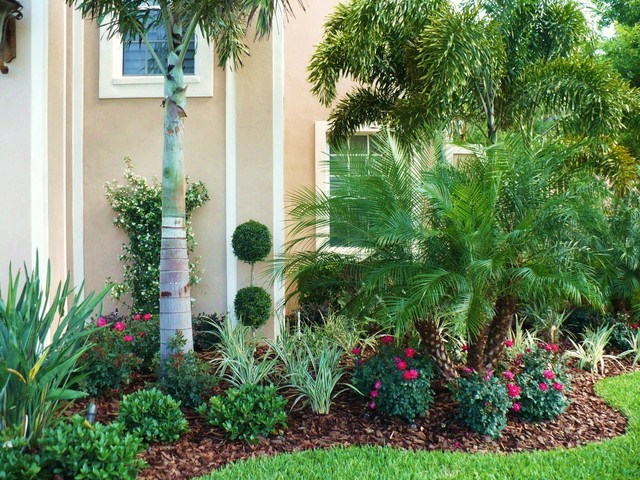 Front Landscape Amp Pool Waterfall Tropical Landscape