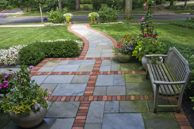 front walkway pattern design entrances winnetka il traditional landscape sidewalk design ideas - Sidewalk Design Ideas