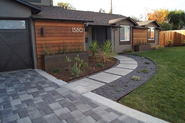 Front walkway redesign modern landscape san for Modern backyard landscaping