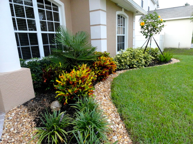 Front yard back yard pool landscapes traditional for Low maintenance tropical landscaping
