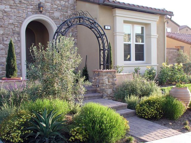 Front Yard Entrance Arbor Mediterranean Garden