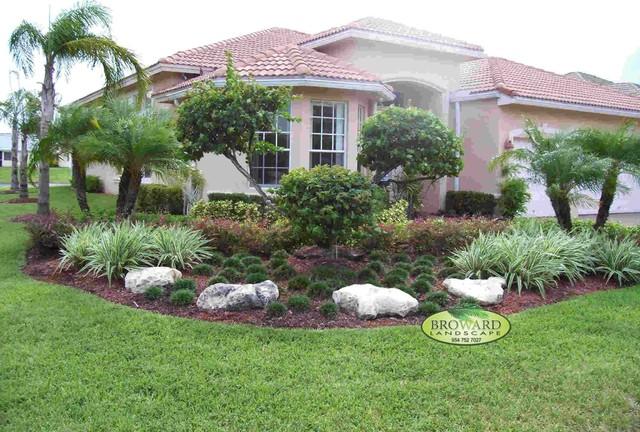 Front Yard Landscape Tropical Garden Miami By Broward Landscape Inc