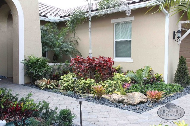 Front Yard Landscape Tropical Garden Miami By