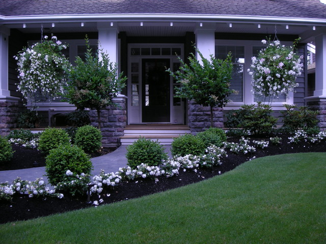 Simple house designs for Front yard flower bed designs