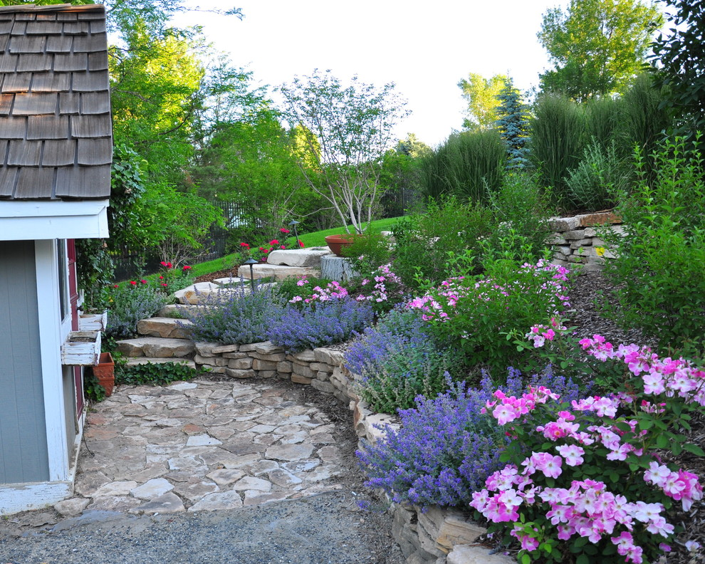 Design ideas for a traditional backyard stone landscaping in Denver.