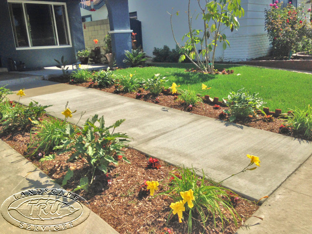Marvelous Front Yard Walkway Landscaping Ideas Part - 11: Front Yard Walkway Is Inviting Tropical-landscape