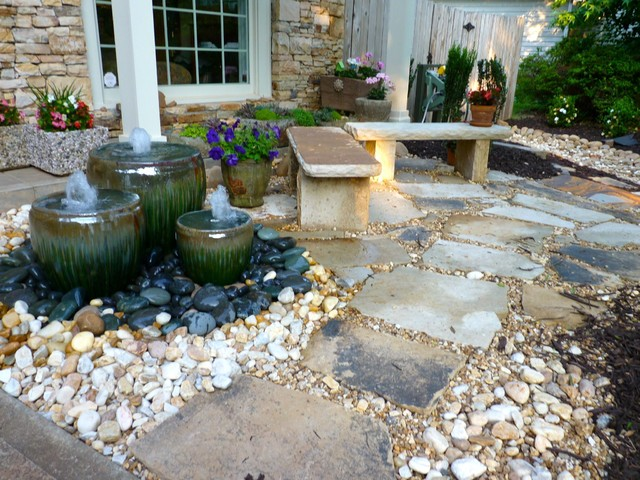 Front yard water feature by outdoor makeover traditional for Water garden landscaping