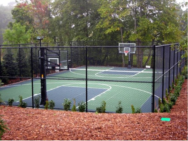 Full outdoor court traditional landscape other metro for How to build a sport court