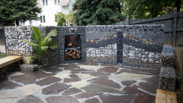 Gabion lounge rustic landscape indianapolis by alsinc for Landscaping rocks indianapolis