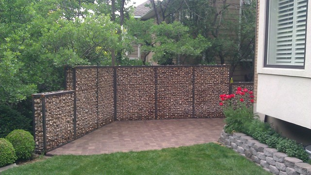 Gabion privacy wall eclectic landscape salt lake for Garden privacy wall ideas